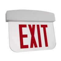 C-Lite LED Edgelit Exit Sign | Double Face | Red Letters | Battery Backup | Self-Test | Silver