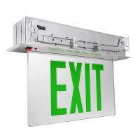 C-Lite LED Recessed Edgelit Exit Sign | Double Face | Green Letters | Battery Backup | Self-Test | Silver