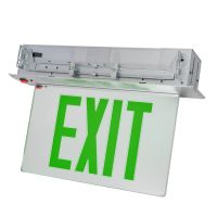 C-Lite LED Recessed Edgelit Exit Sign | Single Face | Green Letters | Battery Backup | Self-Test | Silver