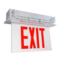 C-Lite LED Recessed Edgelit Exit Sign | Single Face | Red Letters | Battery Backup | Self-Test | Silver