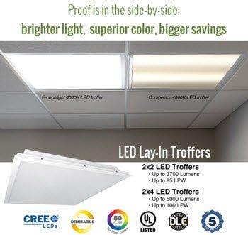 LED troffer side-by-side
