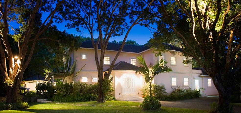 home backyard lit up