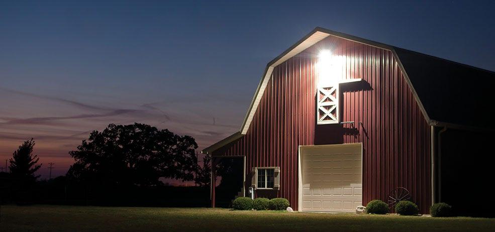 dusk to dawn lights on a barn