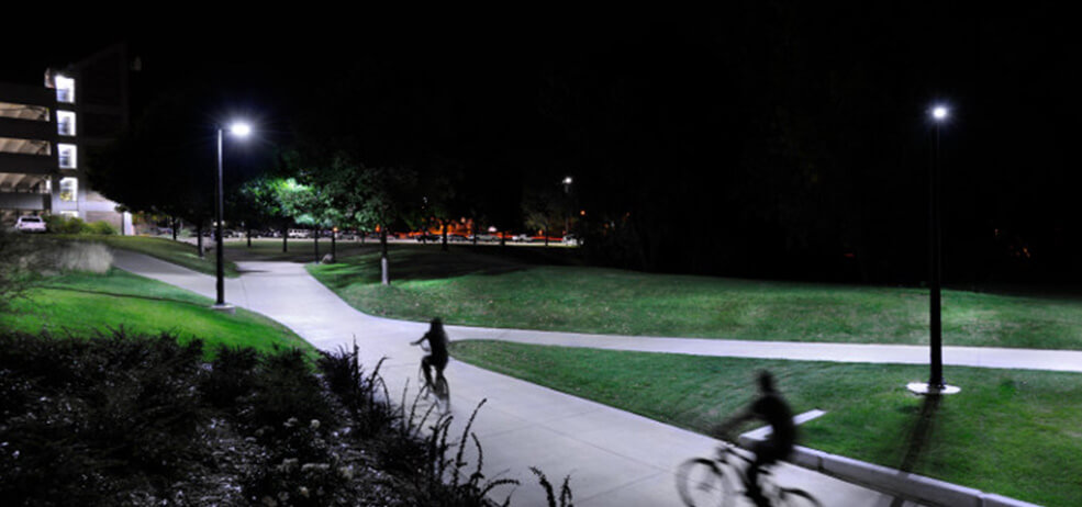 outdoor lighting fixtures on a college campus